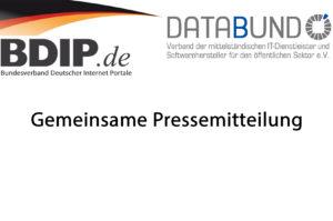 Gemeinsame Pressemitteilung BDIP und DATABUND